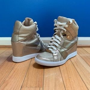 Coach gold wedge sneakers